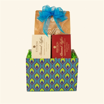 Peacock Toffee & Popcorn Gift Basket